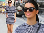A sight in stripes: Kendall Jenner showed off her long, lean legs in a black and white patterned mini dress as she strolled around New York's Soho neighbourhood