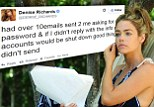 Denise Richards tweeted today that she had received over ten emails asking for her password and threatening to shut down her accounts if she did not respond
