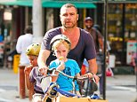 New York, NY - Liev Schreiber treats his boys Samuel and Alexander to an ice cream treat and a bike ride in New York. Liev got his boys some ice cream cones from the ice cream truck before he rode them home after some fun time with dad. AKM-GSI      September 2, 2014  To License These Photos, Please Contact : Steve Ginsburg (310) 505-8447 (323) 423-9397 steve@akmgsi.com sales@akmgsi.com or Maria Buda (917) 242-1505 mbuda@akmgsi.com ginsburgspalyinc@gmail.com