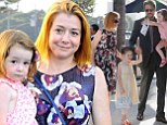 Sweet as American Pie! Alyson Hannigan and husband Alexis Denisof dress up as they take daughters out for dinner in LA