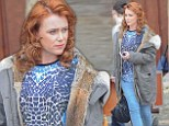 Keeley Hawes stirs up trouble as a brazen redhead while filming JK Rowling's The Casual Vacancy in England