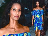 Feelin' Caribbean? Padma Lakshmi plays up her exotic beauty in blue patterned dress on the way to dinner