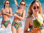 Retro glamour: Suki Waterhouse turned the beach into her own runway when she splashed about in Rio de Janeiro, Brazil on Wednesday