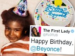 Happy Birthday Beyonce! Michelle Obama pays tribute to her 'wonderful friend'... as the singer posts adorable throwback snap from childhood