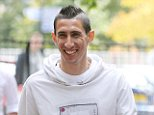 Man Uniteds record signing Angel Di Maria walks back to The Lowry Hotel on Wednesday afternoon after having lunch at San Carlo Italian Restaurant ........27.8.14.