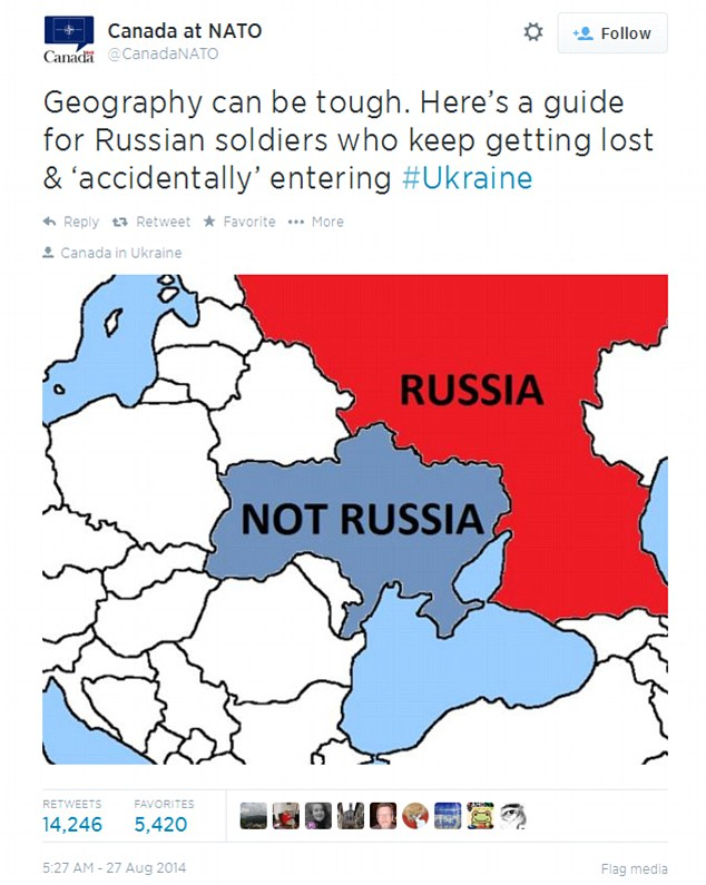 Canadian officials at NATO had posted this sarcastic tweet with a map showing that Ukraine was 'NOT RUSSIA' and that Russia was 'RUSSIA' in response to claims that Russian soldiers found themselves in Ukraine by mistake