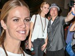 Brooklyn Decker is friendly to her fans as she stops to pose for selfies after husband Andy Roddick's talk show appearance