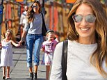 Her little girls! Sarah Jessica Parker guides her twin daughters Marion and Tabitha to school in New York City