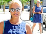 Dianna Agron shows off her legs in blue dress and silver statement sandals while out to lunch in West Hollywood