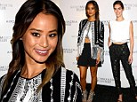 All there in black and white! Jamie Chung and Hilary Rhoda flash their flat stomachs in monochrome at BCBG Max Azria as Fashion Week kicks off