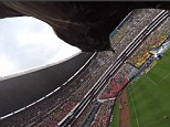 Spactacle: The eagle mascot completes a couple of loops in the air to impress Club America fans