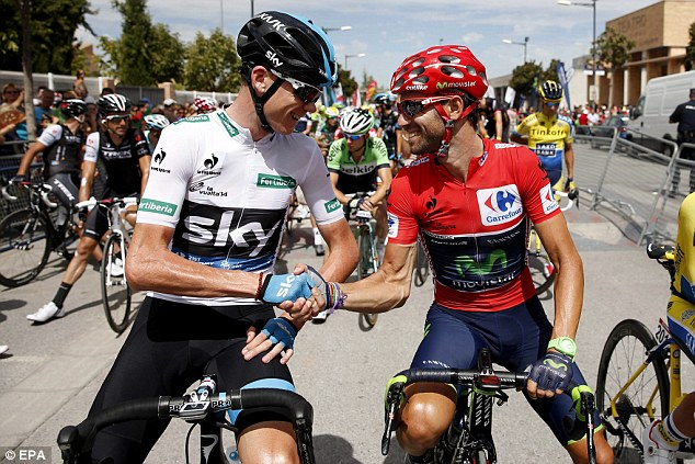 Embrace: Froome (left) and Valverde (right) are all smiles before the beginning of the Vuelta's seventh stage