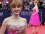 US actress Jessica Chastain arrives for the awards ceremony at the 40th American Film Festival, Friday, Sept. 5, 2014, in Deauville, Normandy, western France. (AP Photo/Jacques Brinon)