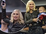 Hey Baby! Gwen Stefani holds young son Apollo in her arms at US Open while keeping in touch with her two other children via video call