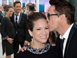 Robert Downey Jr. gives pregnant wife Susan a loving kiss at premiere of new film The Judge in Toronto