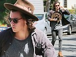3.SEPTEMBER.2014 - LOS ANGELES - USA\n*** EXCLUSIVE PICTURES ***\nONE DIRECTION HEARTTHROB HARRY STYLES SEEN OUT AND ABOUT IN LOS ANGELES. HARRY SEEN WEARING JEANS WITH A GREY T-SHIRT AND BROWN BOOTS AND HE FINISHES THE LOOK WITH A BROWN HAT AND DARK SUNGLASSES\nBYLINE MUST READ:  XPOSUREPHOTOS.COM\n***UK CLIENTS - PICTURES CONTAINING CHILDREN PLEASE PIXELATE FACE PRIOR TO PUBLICATION ***\n**UK CLIENTS MUST CALL PRIOR TO TV OR ONLINE USAGE PLEASE TELEPHONE 0208 344 2007*\n