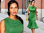 Green goddess! Padma Lakshmi wows in clinging emerald dress at New York Fashion Week show