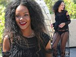 """September 4, 2014: Rihanna wears a racy see through dress that shows off her underwear as she is seen leaving Super yacht """"Galaxy"""" after spending the past week cruising the Mediterranean with friends.\nMandatory Credit: INFphoto.com Ref: infusny-198 sp """
