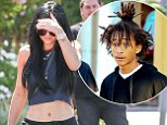 Kylie Jenner shows off her hair extensions on lunch outing in midriff-revealing top... while rumoured boyfriend Jaden Smith unveils bizarre new 'do