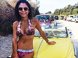 Bethenny Frankel displayed her incredibly slim and toned physique in a tiny pink patterned bikini as she shared a photo with fans on Instagram on Wednesday