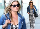 Ali Larter covers up her ever-growing baby bump in patterned maxi dress while out and about in Beverly Hills
