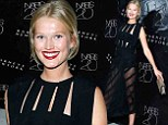 Anniversary party: Toni Garrn wore a sheer black skirt on Thursday to the NARS Cosmetics 20th anniversary party at Barneys in New York City