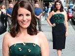 Coming up roses! Tina Fey stuns in a tight ensemble featuring metallic rose embellishments