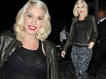 Over exposure! Gwen Stefani flashes her black bra in semi-sheer top on night out in New York
