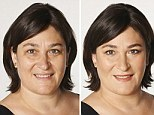 Sarah Vine without make-up (left) and showing off a 'natural' look (centre)