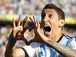Argentina's Angel Di Maria celebrates scoring against Switzerland during extra time in their 2014 World Cup round of 16 game at the Corinthians arena in Sao Paulo in this July 1, 2014 file photo.   Manchester United smashed the British transfer record when they signed Argentina winger Angel Di Maria from Real Madrid for 59.7 million pounds ($98.77 million) on August 26, 2014. Picture taken July 1, 2014.    REUTERS/Ivan Alvarado/Files (BRAZIL - Tags: SPORT SOCCER)