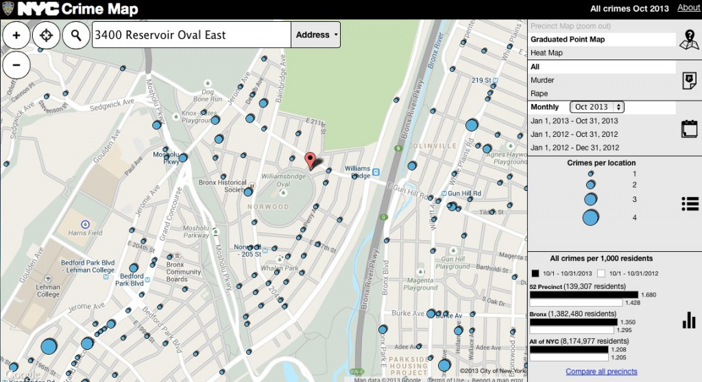 The NYPD Crime Map (pictured) is up and running, but low on support following it's quiet debut.   Photo courtesy of the city Dept. of Information Technology and Information.