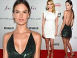 Alessandra Ambrosio's sequined green frock is barely there... while Kate Upton covers famous figure in demure white dress at Fashion Awards