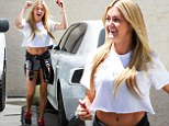 Lindsay Arnold flashes her toned tummy and dancer's legs as celebs begin rehearsals for Dancing With The Stars