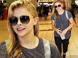 Casual Chloe! If I Stay star Moretz arrives in Toronto dressed in her favorite T-shirt and jeans look