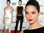 Holey moly! Kendall Jenner swaps trousers covered in cut-outs for a dazzling floor-sweeping cream gown to hit fashion events