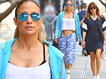 Impressive: Jennifer Lopez flaunted her rock solid stomach in a crop top paired with blue camouflage sweatpants as she left the gym in New York City with a gal pal on Friday