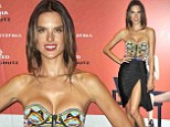 You little devil! Alessandra Ambrosio busts out the cleavage in beaded top with high-cut skirt at footwear launch