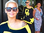 A new look for her! Amber Rose downplays her sex appeal in sporty jersey for mother-daughter pampering at the salon
