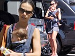 Her little koala bear! Jordana Brewster runs errands in Santa Monica while toting son Julian in a baby carrier