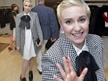 Almost takes the checkered flag: Lena Dunham just misses the mark in white dress and oversized patterned blazer for menswear inspired look