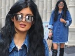 A delight in denim! Kylie Jenner dazzles in over-sized jean shirt as she shops in New York City