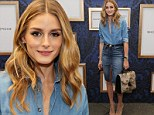 Olivia Palermo sports chic double denim ensemble to preview the Marchesa Voyage collection at New York Fashion Week