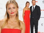 Painting the town red! Cameron Diaz stuns in strapless jumpsuit as she promotes new film Sex Tape in Germany with Jason Segel