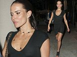 MUST BYLINE: EROTEME.CO.UK ****NO DAILYMAIL ONLINE WITHOUT APPROVAL**** Feeling a little nippy? A braless Sophie Anderton is all smiles as he leaves the Ham Yard Hotel in soho wearing a little black dress, showing off her long legs and and possibly a little more than she wanted with her nipples showing through the sexy number. EXCLUSIVE    September 4, 2014 Job: 140905L6     London, England  EROTEME.CO.UK 44 207 431 1598
