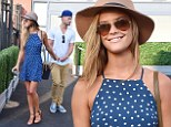 Dotty about each other: Nina Agdal wears flirty polka-dot mini dress as she enjoys day at 2014 US Open with beau Reid Heidenry