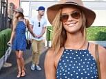 Dotty about each other: Nina Agdal wears flirty polka-dot mini dress as she enjoys day at 2014 US Open with beau Reid Heidenry
