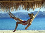 A5104C Man relaxing in hammock under thatched palapa Mulege Baja California Mexico
