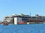 Mandatory Credit: Photo by AGF s.r.l./REX (3982497k).. Costa Concordia.. Costa Concordia wreck removal project arrives in Port of Genoa, Italy - 27 Jul 2014.. ..