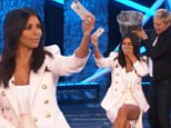 Kim Kardashian shrieks while taking the ice bucket challenge on Ellen... and of course documents the moment with a selfie