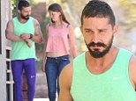 Ready for aerobics class! Shia LaBeouf sports bright green tank top and purple tights while out to lunch with girlfriend Mia Goth